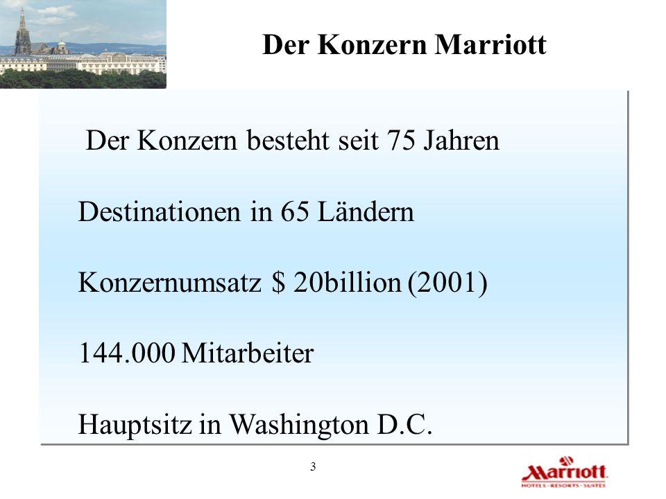 3 Der Konzern Marriott Der Konzern besteht seit 75 Jahren Destinationen in 65 Ländern Konzernumsatz $ 20billion (2001) 144.000 Mitarbeiter Hauptsitz i