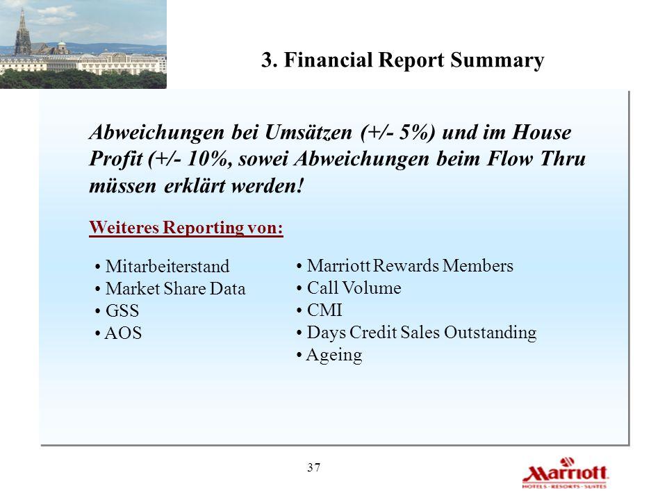 37 3. Financial Report Summary Abweichungen bei Umsätzen (+/- 5%) und im House Profit (+/- 10%, sowei Abweichungen beim Flow Thru müssen erklärt werde