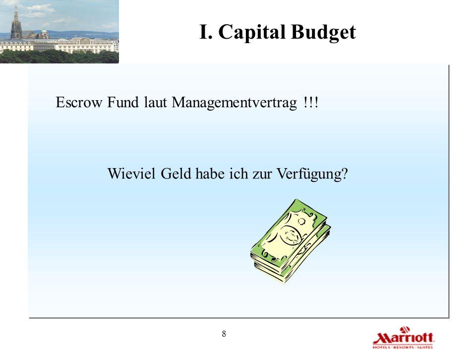8 I. Capital Budget Escrow Fund laut Managementvertrag !!! Wieviel Geld habe ich zur Verfügung?