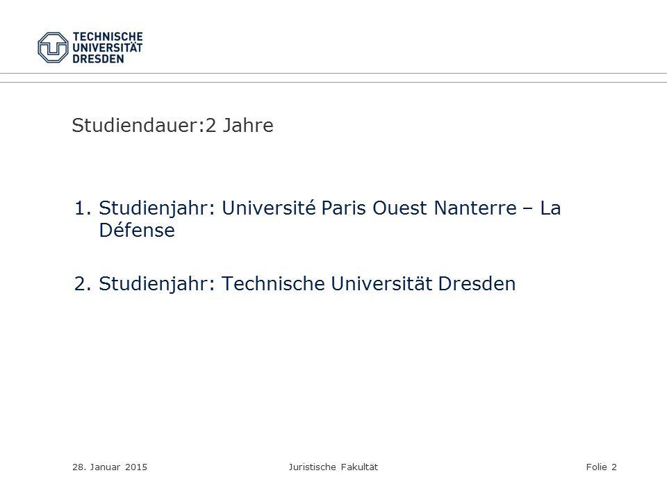 Studiendauer:2 Jahre 1.Studienjahr: Université Paris Ouest Nanterre – La Défense 2.Studienjahr: Technische Universität Dresden 28. Januar 2015Juristis