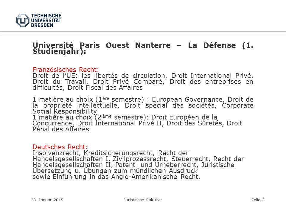 28. Januar 2015Juristische FakultätFolie 3 Université Paris Ouest Nanterre – La Défense (1. Studienjahr): Französisches Recht: Droit de l'UE: les libe