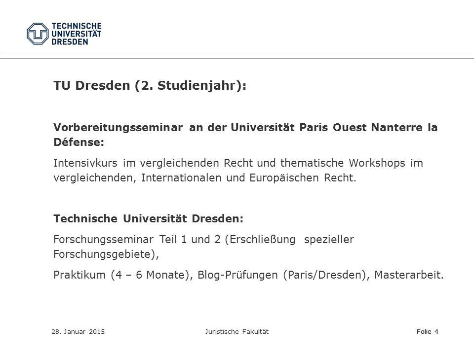 28. Januar 2015Juristische FakultätFolie 4 TU Dresden (2. Studienjahr): Vorbereitungsseminar an der Universität Paris Ouest Nanterre la Défense: Inten