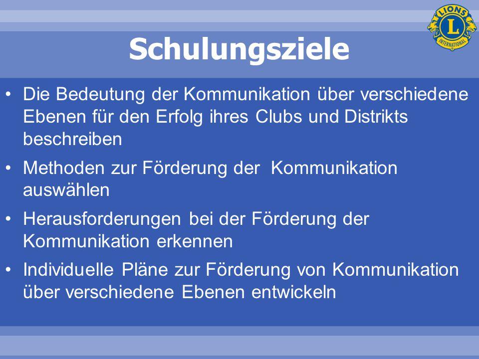 Schulungsziele Die Bedeutung der Kommunikation über verschiedene Ebenen für den Erfolg ihres Clubs und Distrikts beschreiben Methoden zur Förderung de