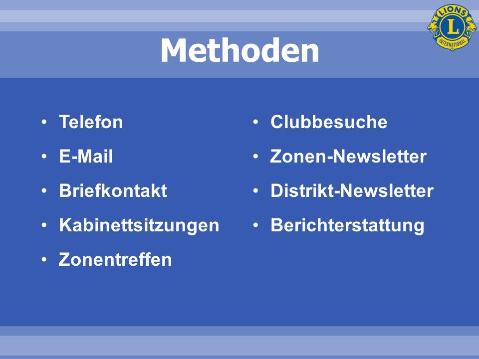 Methoden Telefon E-Mail Briefkontakt Kabinettsitzungen Zonentreffen Clubbesuche Zonen-Newsletter Distrikt-Newsletter Berichterstattung