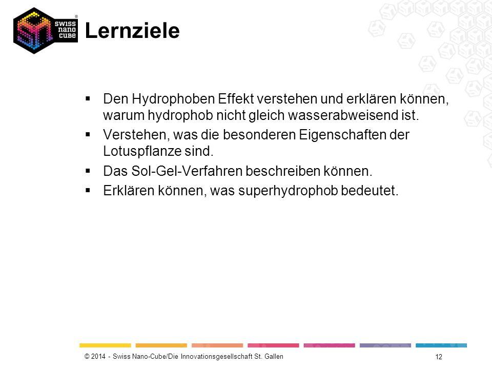 © 2014 - Swiss Nano-Cube/Die Innovationsgesellschaft St. Gallen Lernziele  Den Hydrophoben Effekt verstehen und erklären können, warum hydrophob nich