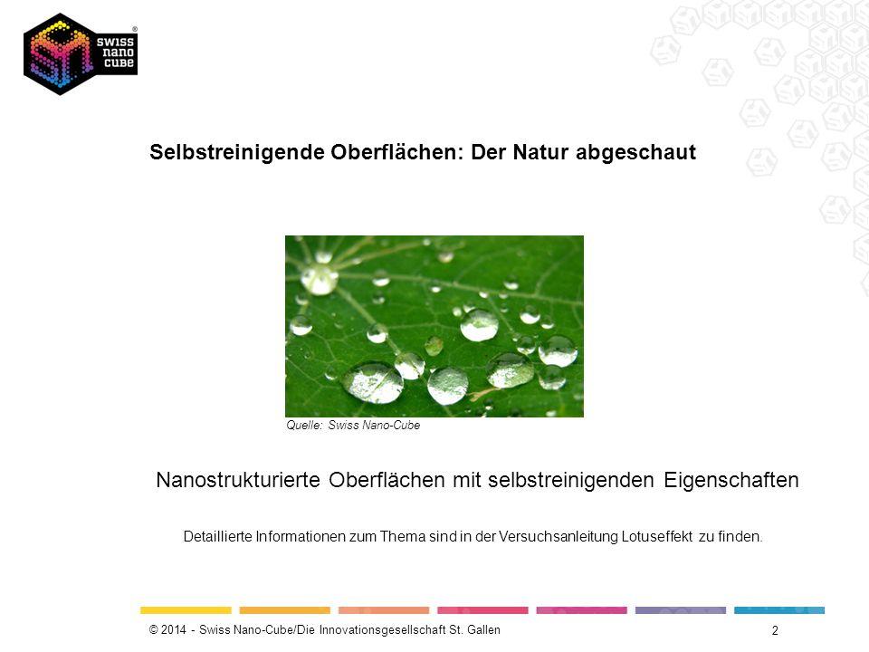 © 2014 - Swiss Nano-Cube/Die Innovationsgesellschaft St. Gallen Selbstreinigende Oberflächen: Der Natur abgeschaut 2 Quelle: Swiss Nano-Cube Nanostruk