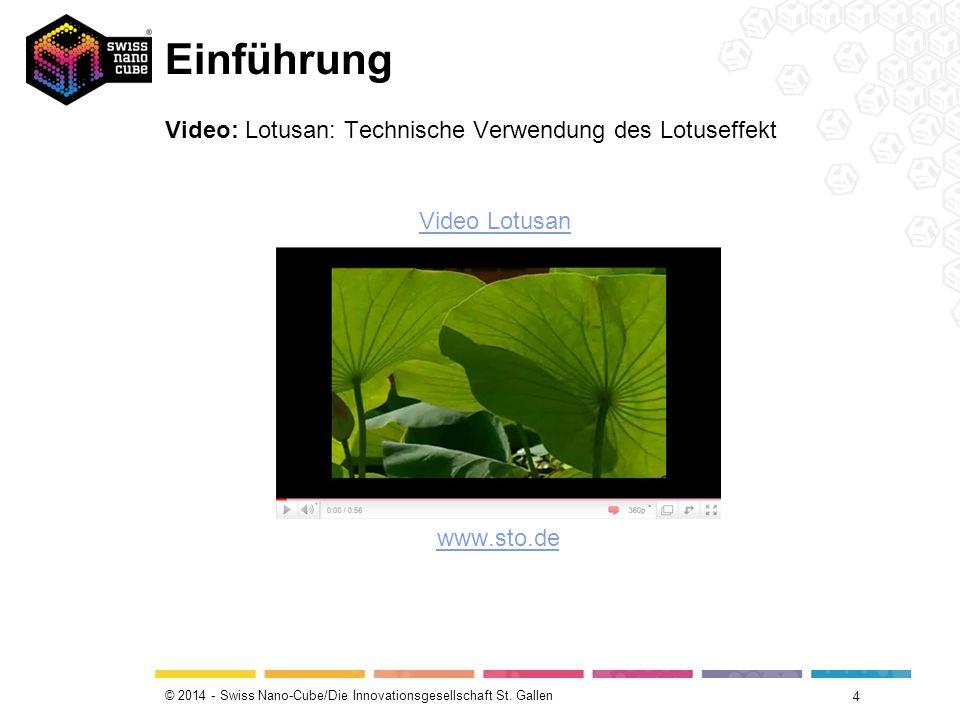 © 2014 - Swiss Nano-Cube/Die Innovationsgesellschaft St. Gallen Einführung 4 Video: Lotusan: Technische Verwendung des Lotuseffekt www.sto.de Video Lo