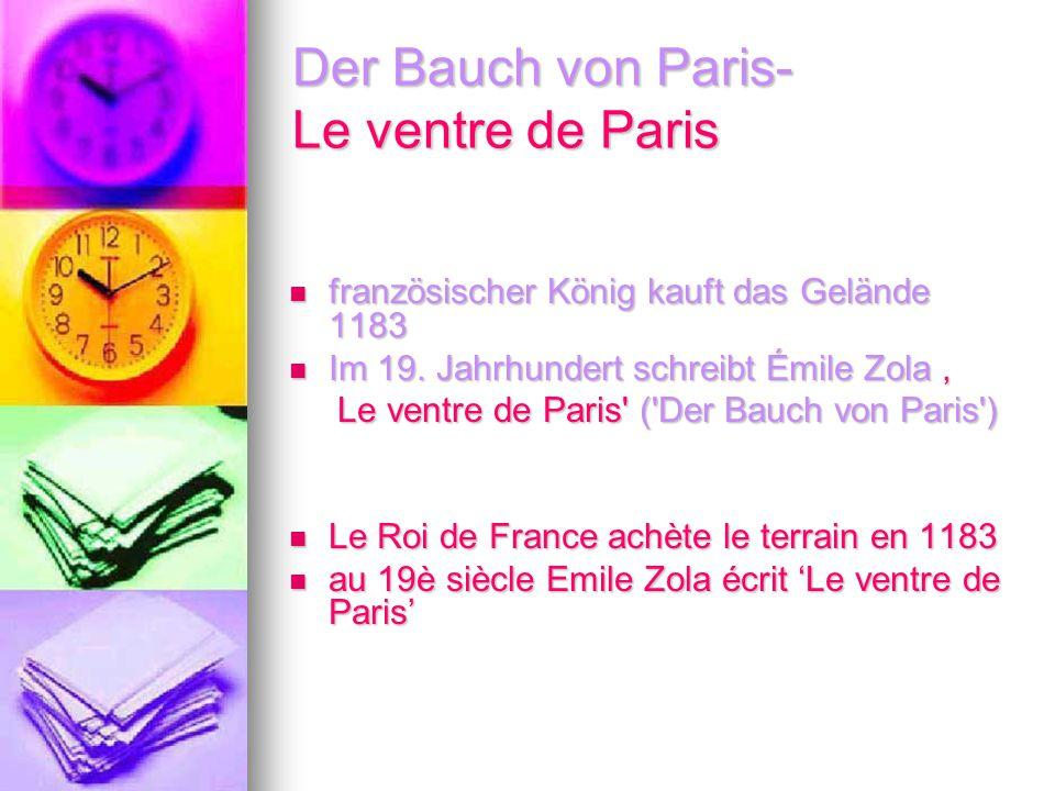 Der Bauch von Paris- Le ventre de Paris französischer König kauft das Gelände 1183 französischer König kauft das Gelände 1183 Im 19. Jahrhundert schre