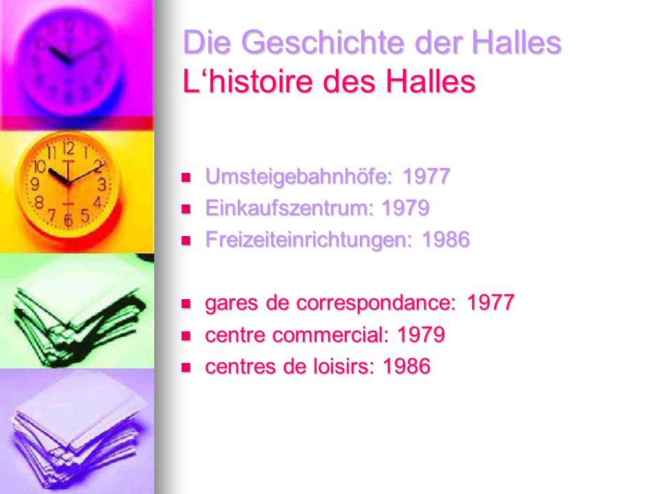 Die Geschichte der Halles L'histoire des Halles Umsteigebahnhöfe: 1977 Umsteigebahnhöfe: 1977 Einkaufszentrum: 1979 Einkaufszentrum: 1979 Freizeiteinr