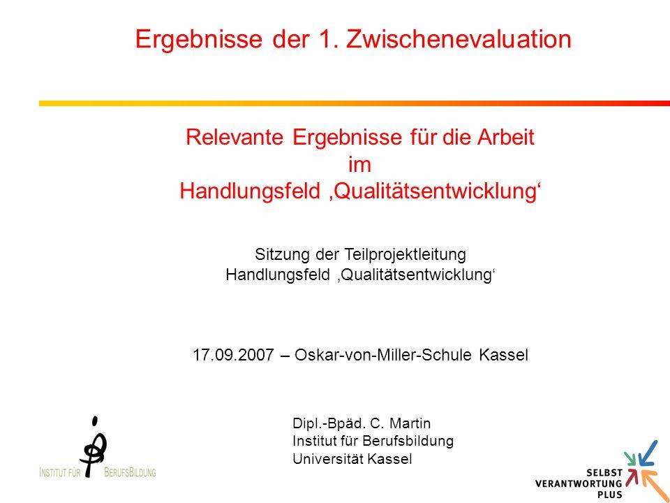 Dipl.-Bpäd. C. Martin Institut für Berufsbildung Universität Kassel Ergebnisse der 1. Zwischenevaluation Relevante Ergebnisse für die Arbeit im Handlu