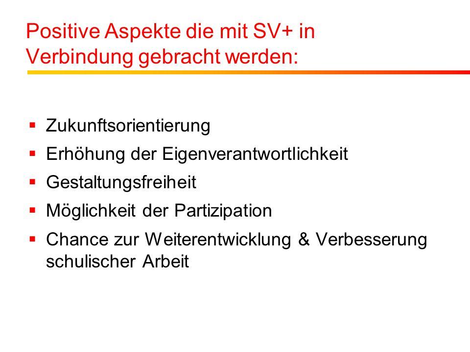 Positive Aspekte die mit SV+ in Verbindung gebracht werden:  Zukunftsorientierung  Erhöhung der Eigenverantwortlichkeit  Gestaltungsfreiheit  Mögl