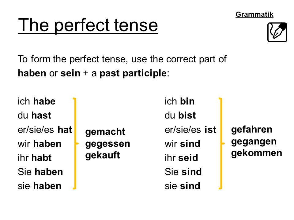 Grammatik The perfect tense To form the perfect tense, use the correct part of haben or sein + a past participle: ich habeich bin du hastdu bist er/si