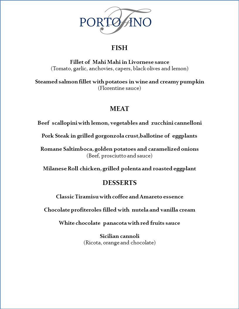 VORSPEISEN Hummer Kuchen im Piemontesischen Stil Bruschetta mit Knoblauch und Olivenöl (Prosciuto, marinierte Tomaten, Grana Padano Käse, Rucola und Basilikum) Caprese-Salat mit Büffelmozzarella und Basilikum Coulis (vegetarisch) Roter Thunfischsalat mit Zitrusmarinade Gepfeffertes Rindfleisch Carpaccio mit Rucola und Parmesan.