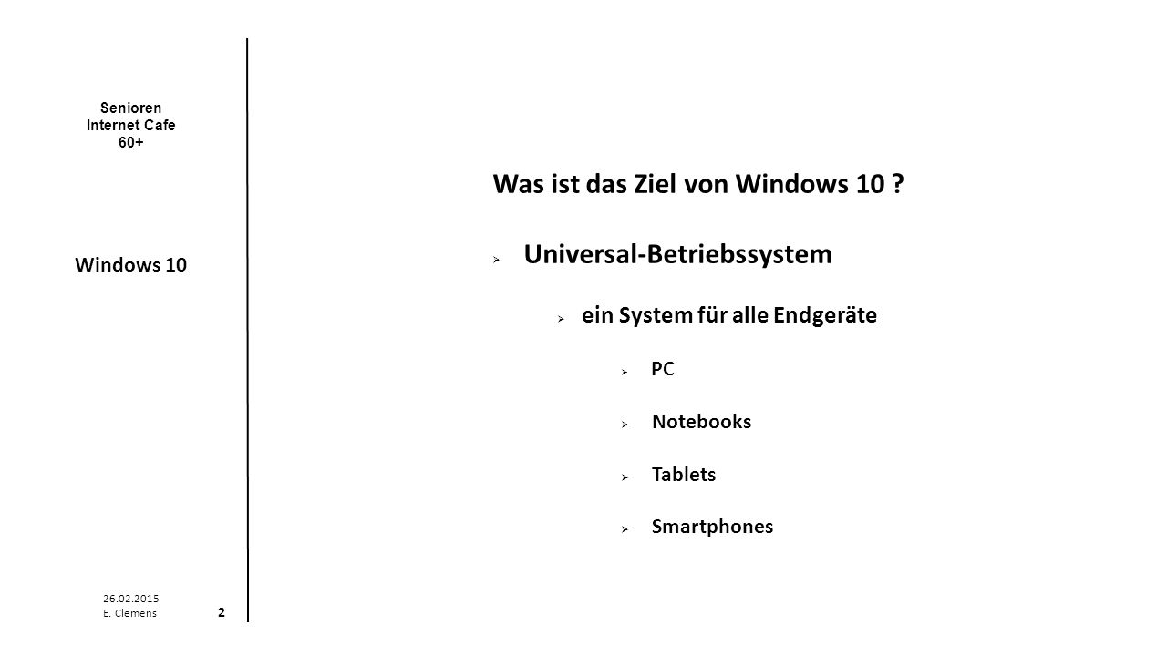 Senioren Internet Cafe 60+ Windows 10 26.02.2015 E.