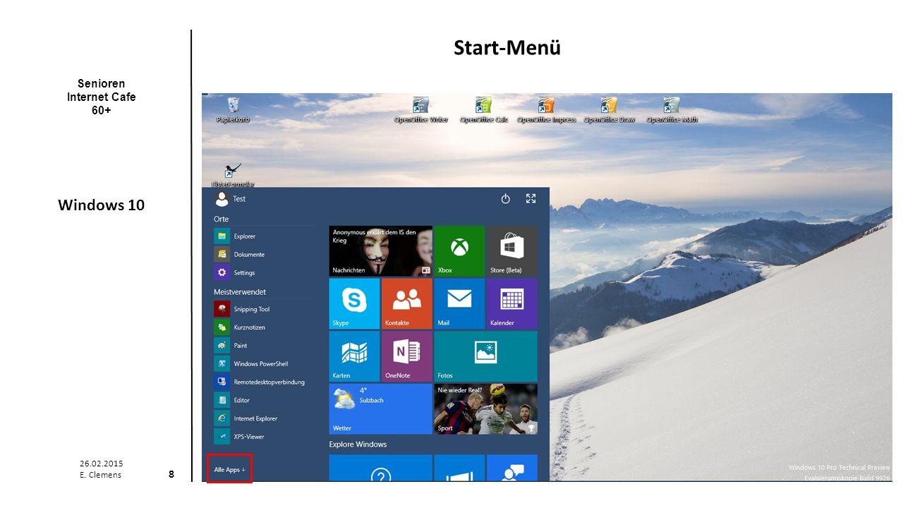 Senioren Internet Cafe 60+ Windows 10 26.02.2015 E. Clemens 9 Alle Apps