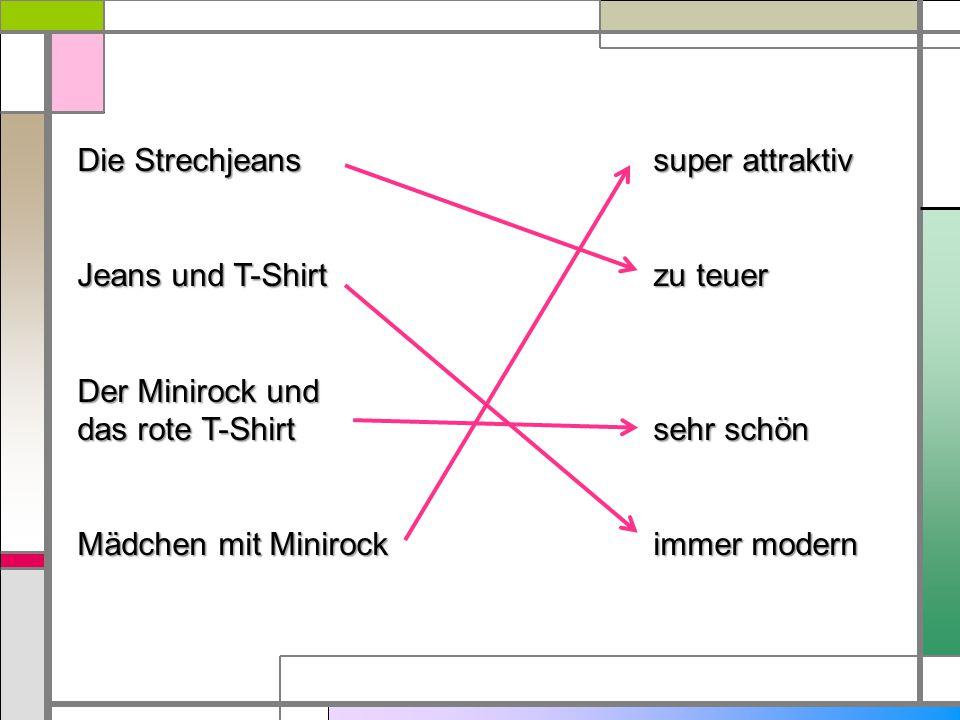 Die Strechjeanssuper attraktiv Jeans und T-Shirtzu teuer Der Minirock und das rote T-Shirtsehr schön Mädchen mit Minirockimmer modern