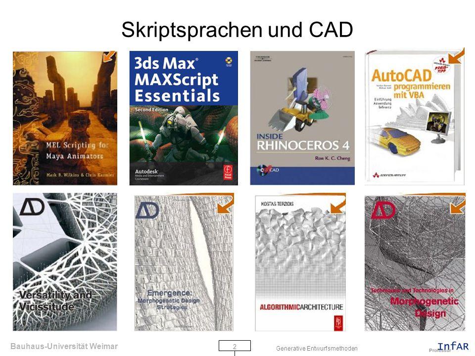 Bauhaus-Universität Weimar 3 Generative Entwurfsmethoden Übersicht Processing Development Environment (PDE) Coordinates Programming Modes Simple Shapes Variables Transformation Loop Conditionals Iteration Random Übungsaufgabe