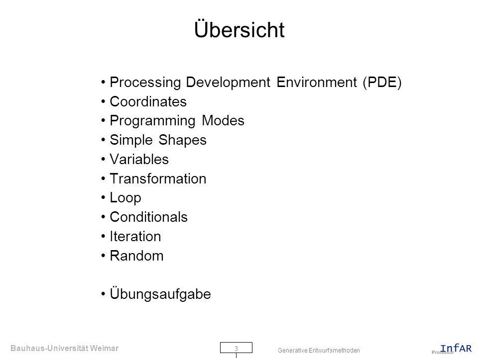 Bauhaus-Universität Weimar 4 Generative Entwurfsmethoden PDE