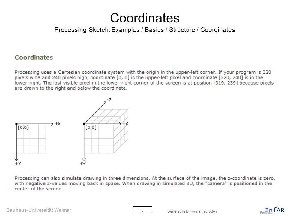 Bauhaus-Universität Weimar 5 Generative Entwurfsmethoden Coordinates Processing-Sketch: Examples / Basics / Structure / Coordinates