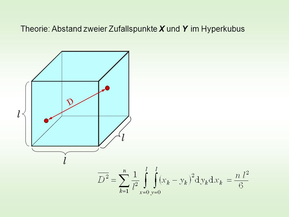 Simulation im 600-dimensionalen Hyperwürfel der Kantenlänge l = 20 D 1 =198,23 D 2 =201,25 D 3 =199,61 D 4 =209,62 D 5 =205,05