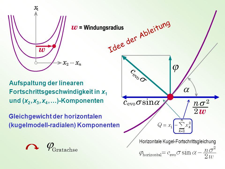 Aufspaltung der linearen Fortschrittsgeschwindigkeit in x 1 und (x 2, x 3, x 4, …)-Komponenten Gleichgewicht der horizontalen (kugelmodell-radialen) Komponenten  Gratachse Horizontale Kugel-Fortschrittsgleichung Idee der Ableitung