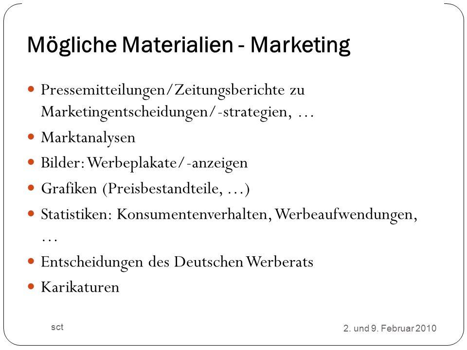 Mögliche Materialien - Marketing Pressemitteilungen/Zeitungsberichte zu Marketingentscheidungen/-strategien, … Marktanalysen Bilder: Werbeplakate/-anzeigen Grafiken (Preisbestandteile, …) Statistiken: Konsumentenverhalten, Werbeaufwendungen, … Entscheidungen des Deutschen Werberats Karikaturen 2.