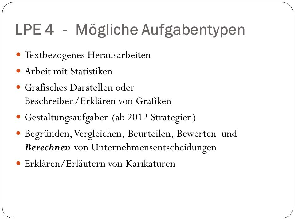 LPE 4 - Mögliche Aufgabentypen 2. und 9.