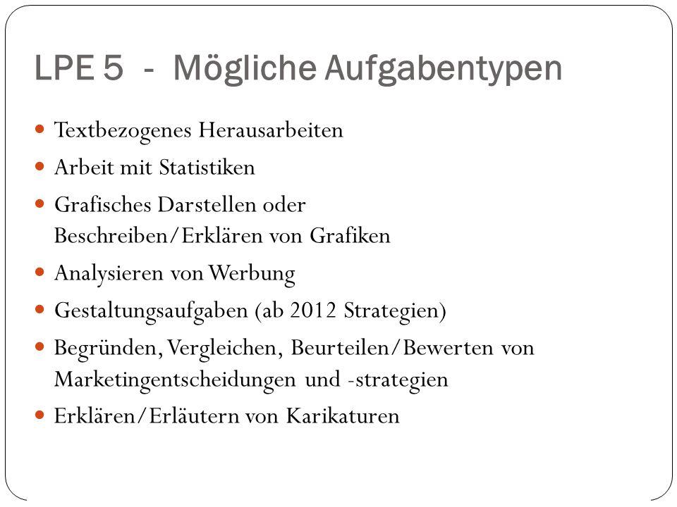 LPE 5 - Mögliche Aufgabentypen 2. und 9.