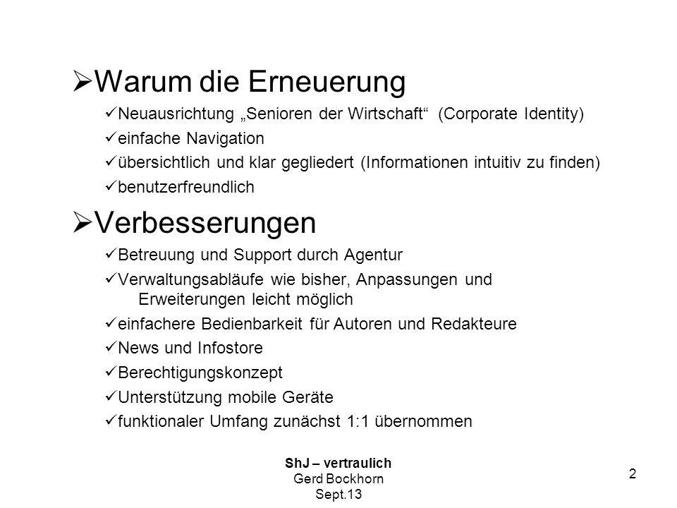 ShJ-vertraulich Gerd Bockhorn Sept.13 3  Was muss von uns getan werden  Befüllen der Seiten Texte prüfen und ggf.