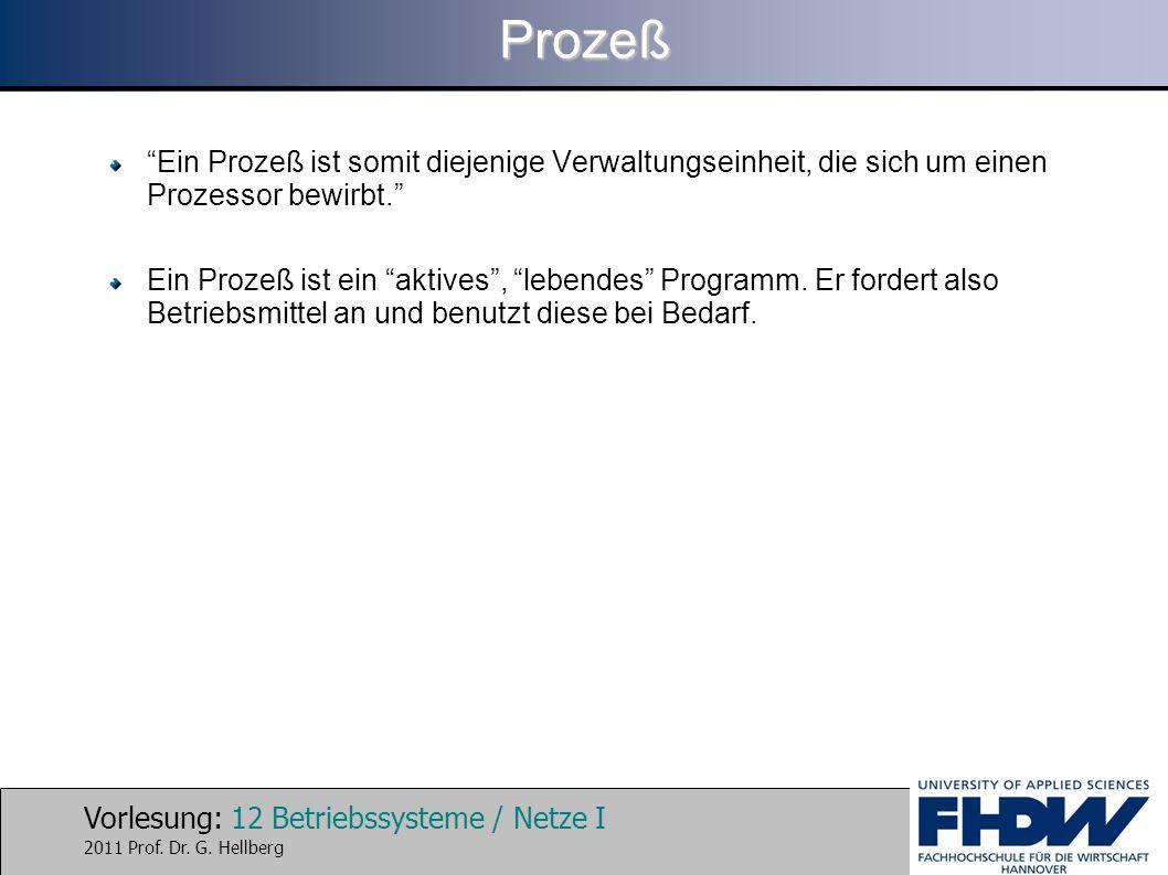 """Vorlesung: 12 Betriebssysteme / Netze I 2011 Prof. Dr. G. HellbergProzeß """"Ein Prozeß ist somit diejenige Verwaltungseinheit, die sich um einen Prozess"""