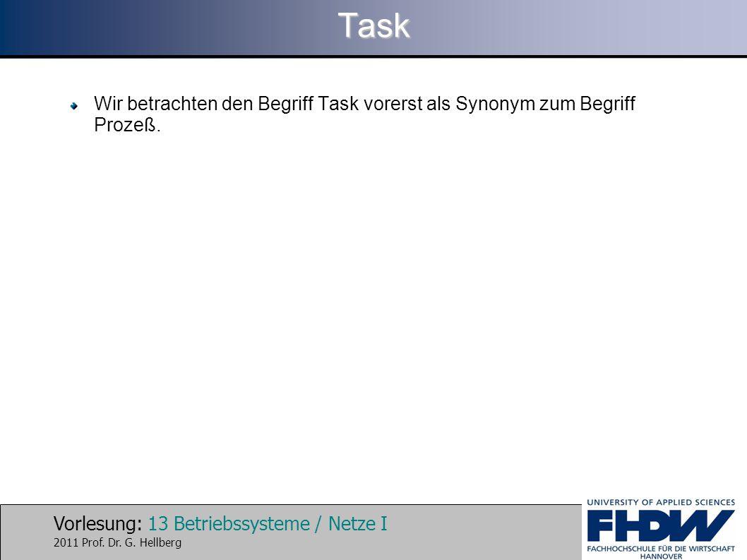 Vorlesung: 13 Betriebssysteme / Netze I 2011 Prof. Dr. G. HellbergTask Wir betrachten den Begriff Task vorerst als Synonym zum Begriff Prozeß.