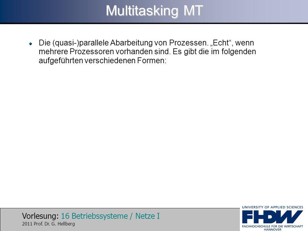 """Vorlesung: 16 Betriebssysteme / Netze I 2011 Prof. Dr. G. Hellberg Multitasking MT Die (quasi-)parallele Abarbeitung von Prozessen. """"Echt"""", wenn mehre"""