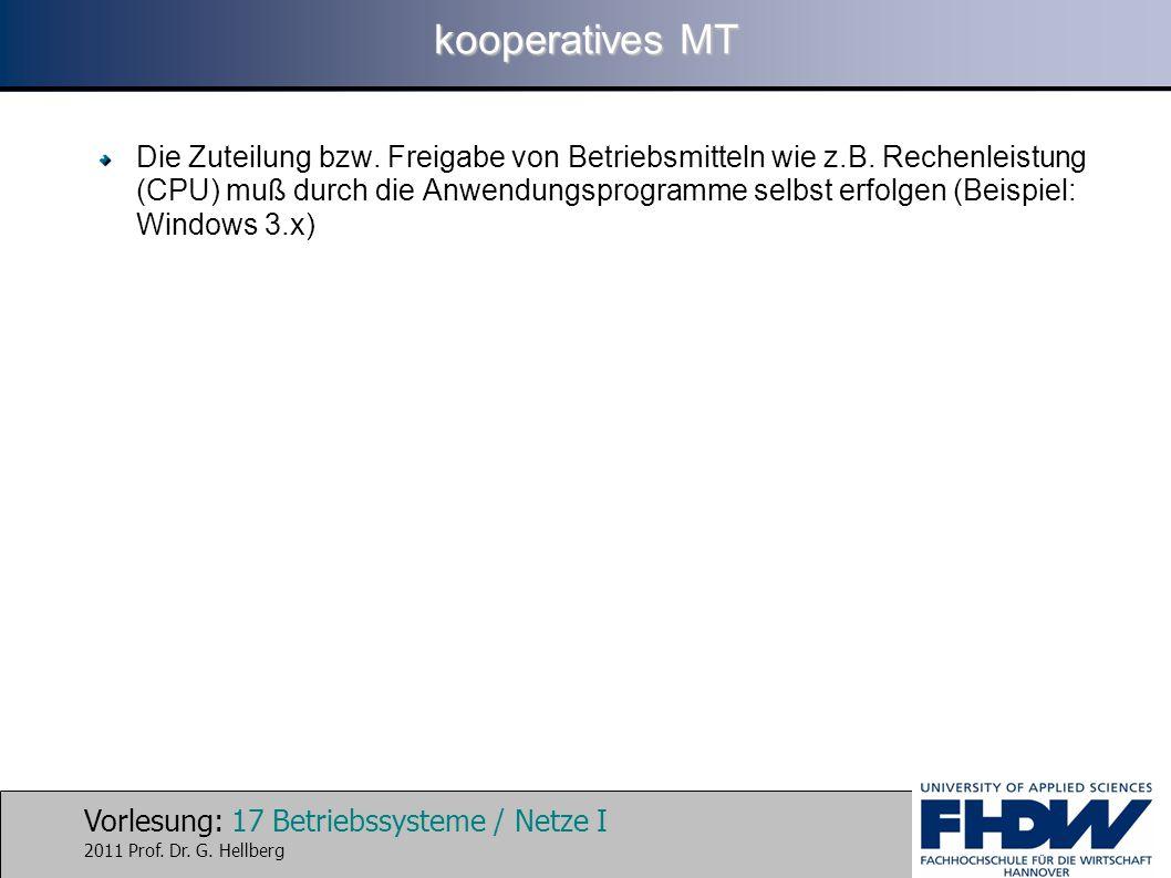 Vorlesung: 17 Betriebssysteme / Netze I 2011 Prof. Dr. G. Hellberg kooperatives MT Die Zuteilung bzw. Freigabe von Betriebsmitteln wie z.B. Rechenleis
