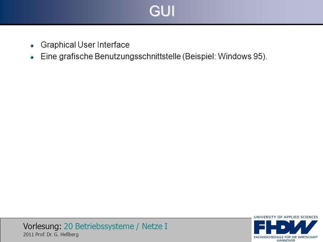 Vorlesung: 20 Betriebssysteme / Netze I 2011 Prof. Dr. G. HellbergGUI Graphical User Interface Eine grafische Benutzungsschnittstelle (Beispiel: Windo