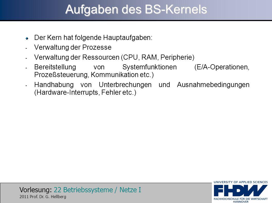 Vorlesung: 22 Betriebssysteme / Netze I 2011 Prof. Dr. G. Hellberg Aufgaben des BS-Kernels Der Kern hat folgende Hauptaufgaben: - Verwaltung der Proze