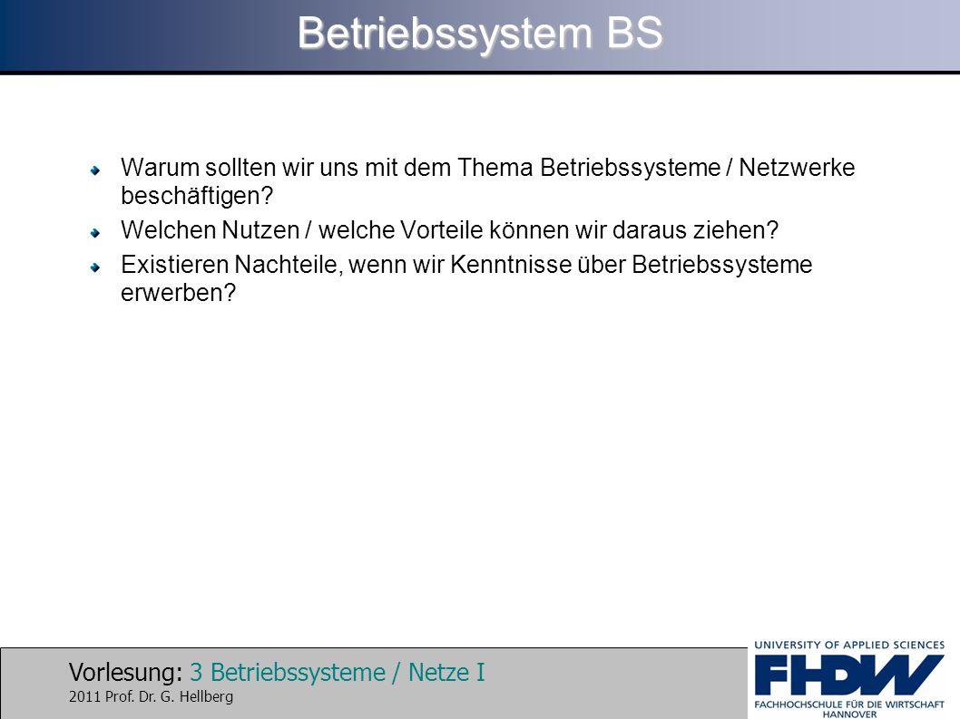 Vorlesung: 3 Betriebssysteme / Netze I 2011 Prof. Dr. G. Hellberg Betriebssystem BS Warum sollten wir uns mit dem Thema Betriebssysteme / Netzwerke be