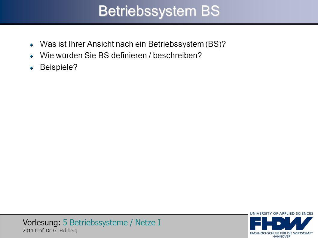 Vorlesung: 5 Betriebssysteme / Netze I 2011 Prof. Dr. G. Hellberg Betriebssystem BS Was ist Ihrer Ansicht nach ein Betriebssystem (BS)? Wie würden Sie