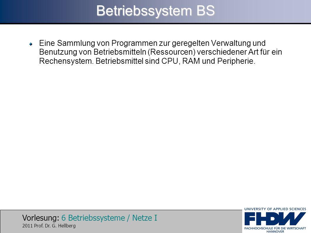 Vorlesung: 6 Betriebssysteme / Netze I 2011 Prof. Dr. G. Hellberg Betriebssystem BS Eine Sammlung von Programmen zur geregelten Verwaltung und Benutzu