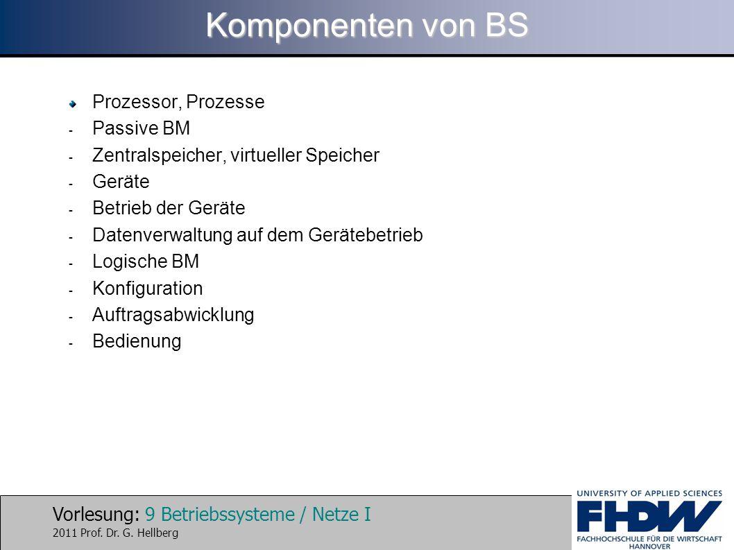 Vorlesung: 9 Betriebssysteme / Netze I 2011 Prof. Dr. G. Hellberg Komponenten von BS Prozessor, Prozesse - Passive BM - Zentralspeicher, virtueller Sp