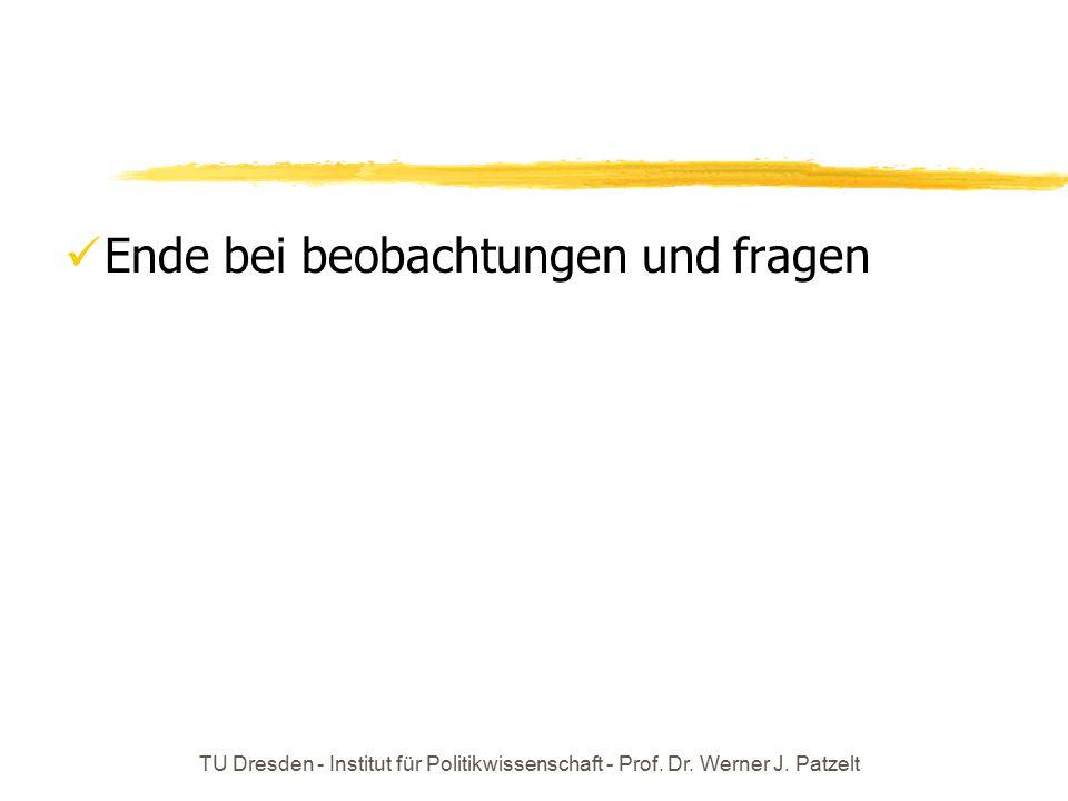 TU Dresden - Institut für Politikwissenschaft - Prof. Dr. Werner J. Patzelt Ende bei beobachtungen und fragen