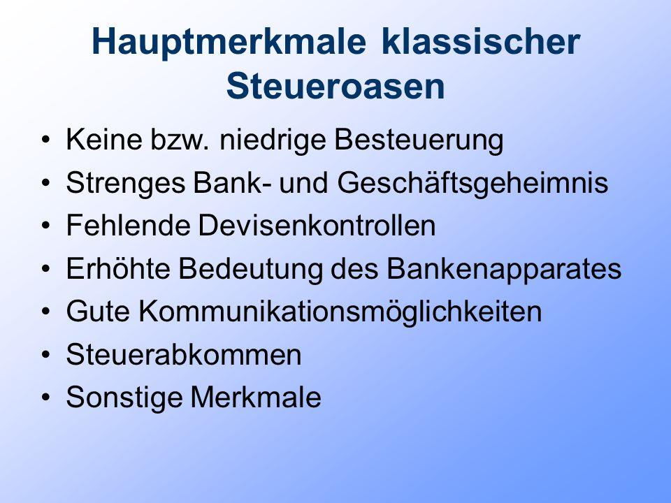 Hauptmerkmale klassischer Steueroasen Keine bzw. niedrige Besteuerung Strenges Bank- und Geschäftsgeheimnis Fehlende Devisenkontrollen Erhöhte Bedeutu