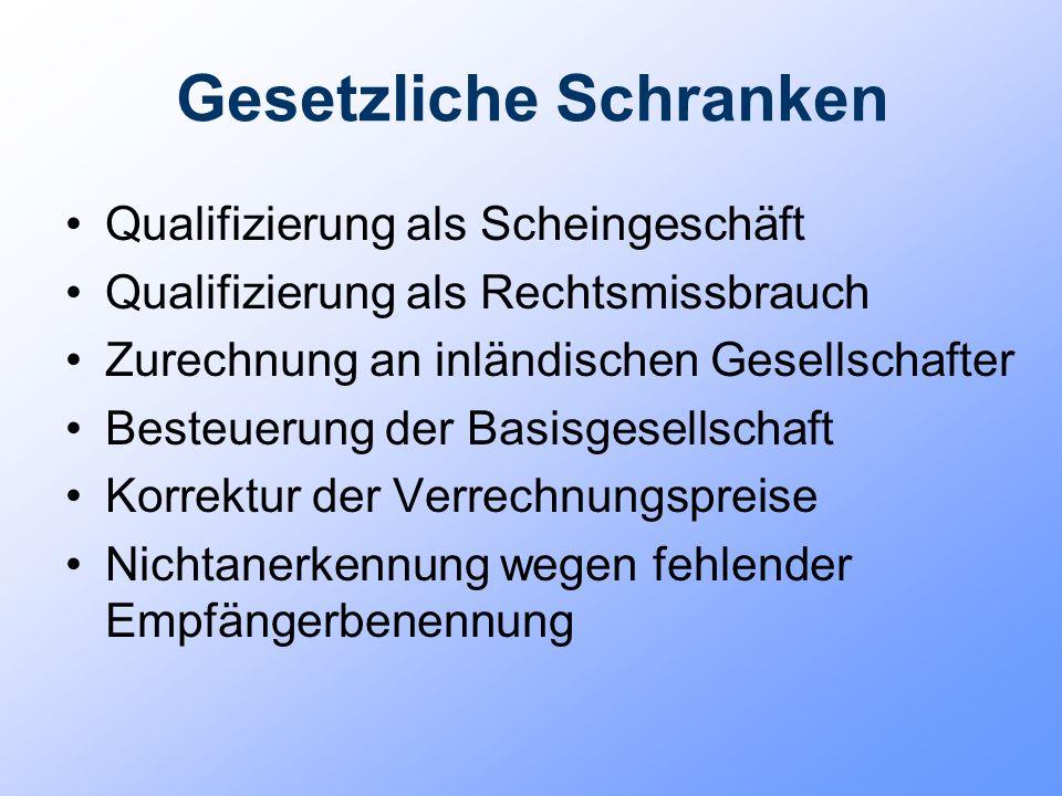 Gesetzliche Schranken Qualifizierung als Scheingeschäft Qualifizierung als Rechtsmissbrauch Zurechnung an inländischen Gesellschafter Besteuerung der