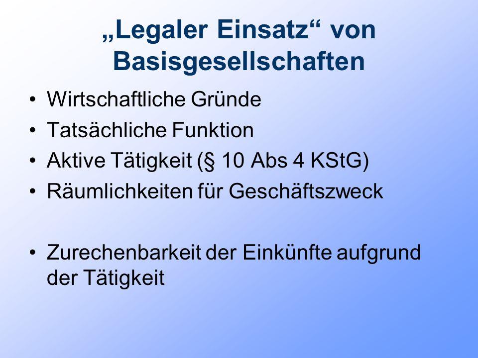 """""""Legaler Einsatz"""" von Basisgesellschaften Wirtschaftliche Gründe Tatsächliche Funktion Aktive Tätigkeit (§ 10 Abs 4 KStG) Räumlichkeiten für Geschäfts"""
