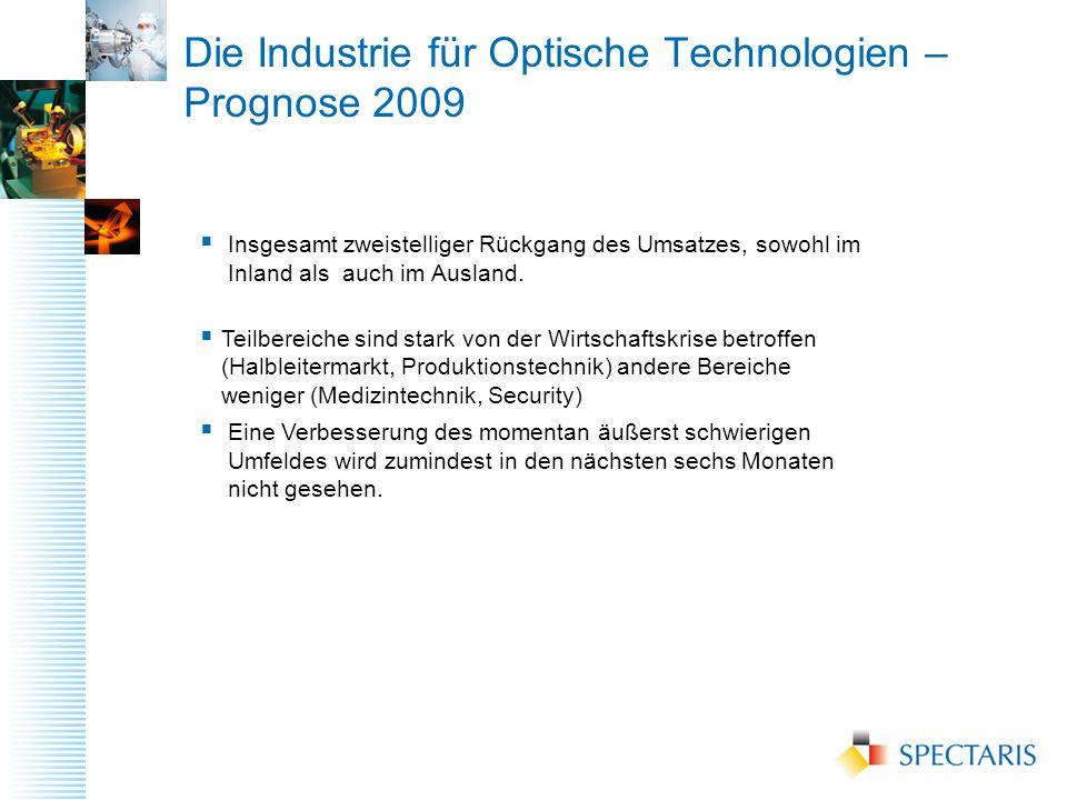 Die Industrie für Optische Technologien – Prognose 2009  Insgesamt zweistelliger Rückgang des Umsatzes, sowohl im Inland als auch im Ausland.