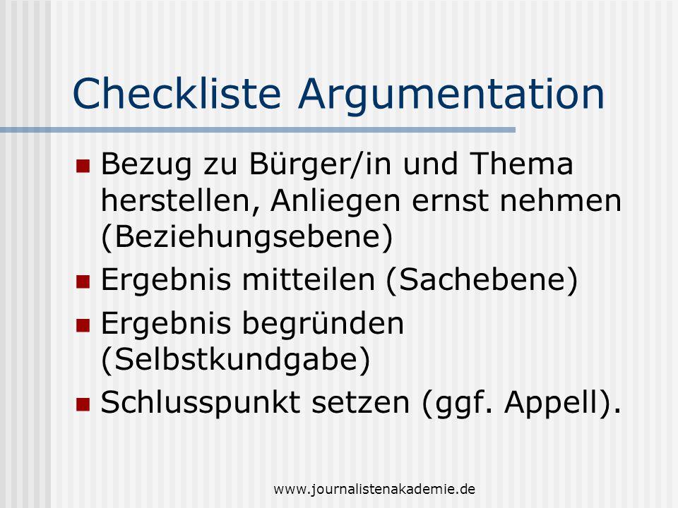 www.journalistenakademie.de Checkliste Argumentation Bezug zu Bürger/in und Thema herstellen, Anliegen ernst nehmen (Beziehungsebene) Ergebnis mitteil