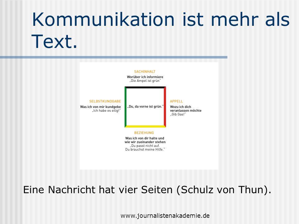 www.journalistenakademie.de Kommunikation ist mehr als Text. Eine Nachricht hat vier Seiten (Schulz von Thun).