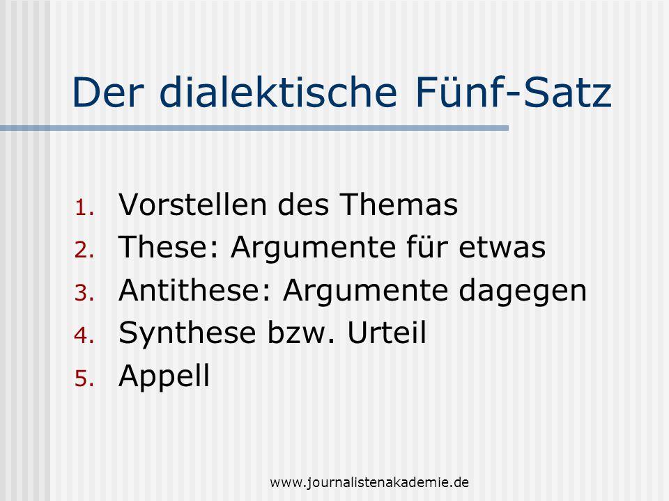 www.journalistenakademie.de Der dialektische Fünf-Satz 1. Vorstellen des Themas 2. These: Argumente für etwas 3. Antithese: Argumente dagegen 4. Synth