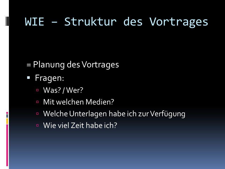 WIE – Struktur des Vortrages = Planung des Vortrages  Fragen:  Was.