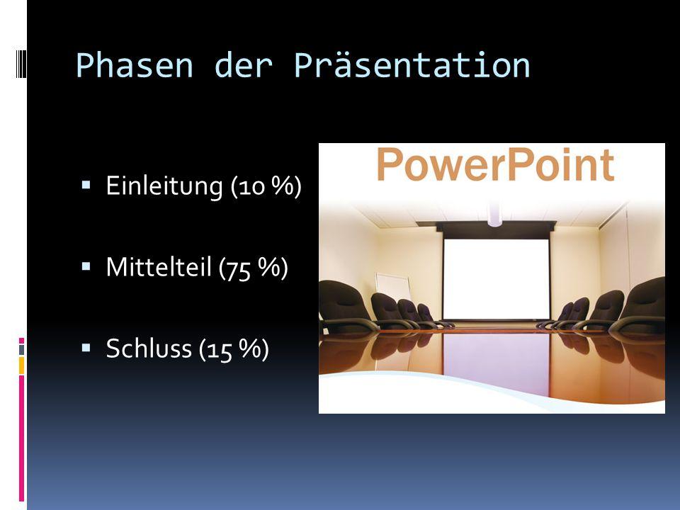 Phasen der Präsentation  Einleitung (10 %)  Mittelteil (75 %)  Schluss (15 %)