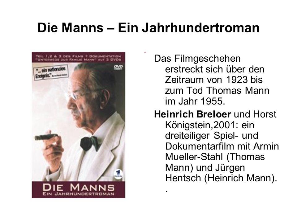 Die Manns – Ein Jahrhundertroman Das Filmgeschehen erstreckt sich über den Zeitraum von 1923 bis zum Tod Thomas Mann im Jahr 1955.